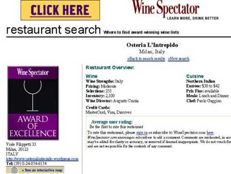 Captura de la pantalla de la web de Wine Spectator en la que se anunciaba el restaurante falso la Osteria L'Inrepido