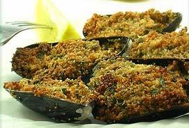 Cozze gratinate al forno (mejillones gratinados)